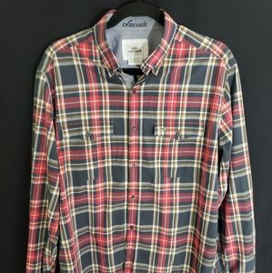 Lacoste Mens Plaid Button Shirt Size 42